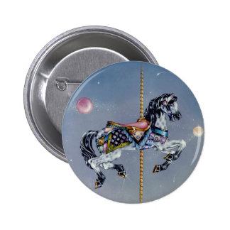 Botones, pernos - caballo gris del carrusel de la pin redondo de 2 pulgadas