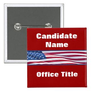 Botones políticos de la campaña electoral de pin cuadrado
