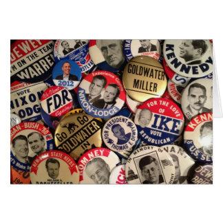 Botones políticos tarjeta de felicitación