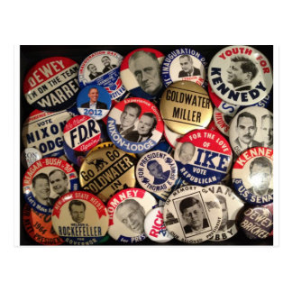 Botones políticos tarjeta postal