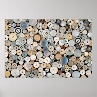 - Botones - porciones de costura de botones blanco Póster