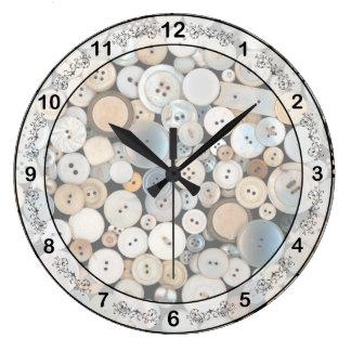 - Botones - porciones de costura de botones blanco Reloj Redondo Grande