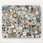- Botones - porciones de costura de botones blanco Tapete De Raton