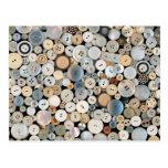 - Botones - porciones de costura de botones blanco Postal