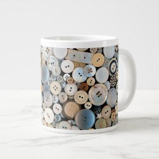 - Botones - porciones de costura de botones Taza De Café Grande