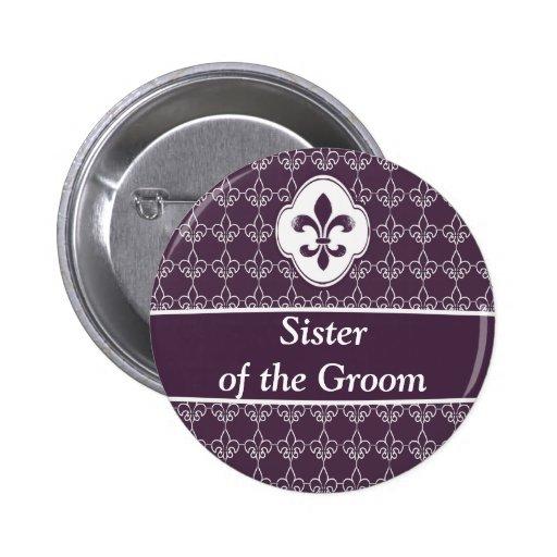 Botones púrpuras del banquete de boda de la cadena pin
