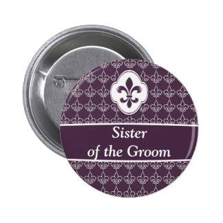 Botones púrpuras del banquete de boda de la cadena pin redondo de 2 pulgadas