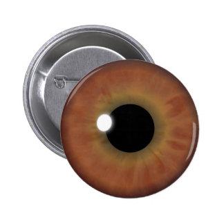 Botones redondos de Brown del ojo del globo del Pin Redondo De 2 Pulgadas