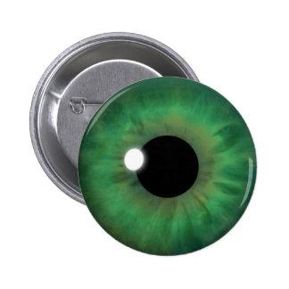Botones redondos del ojo verde del globo del ojo pin redondo de 2 pulgadas