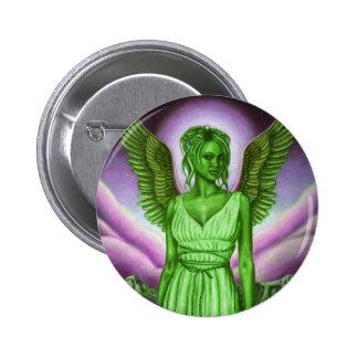 Botones redondos verdes del ángel de guarda