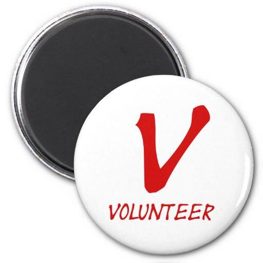 Botones voluntarios del camiseta, voluntarios y má imán redondo 5 cm