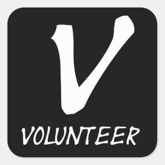 Botones voluntarios del camiseta voluntarios y má pegatina cuadradas personalizada