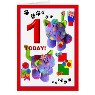 BOTONES y ARCOS los gatitos 1ros. Cumpleaños Tarjeta De Felicitación