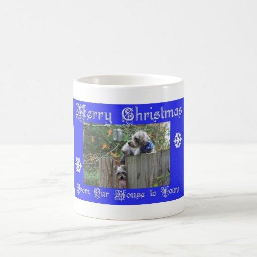 Botones y Felices Navidad del tanque Taza