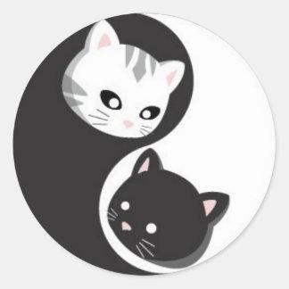 Botones y Ninji de YinYang Pegatinas Redondas