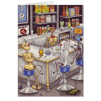 Bots' Nite Off notecard Stationery Note Card