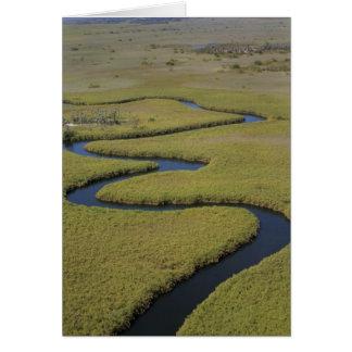 Botswana, Africa. Arial view Okavango river. Card