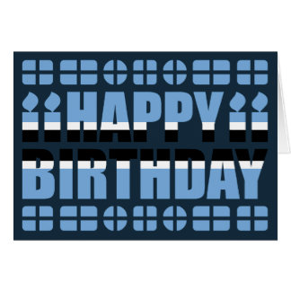 Botswana Flag Birthday Card