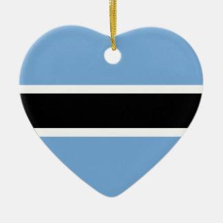 Botswana Flag Heart Christmas Tree Ornament