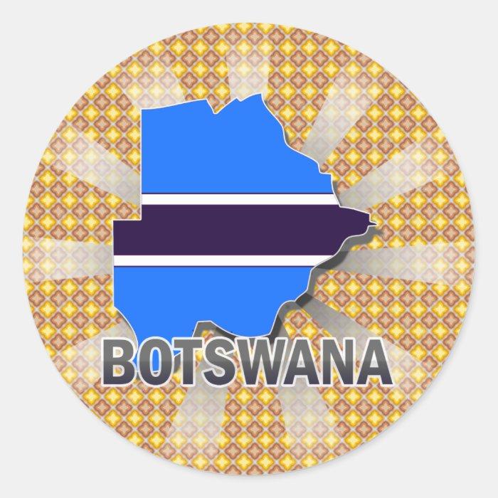 Botswana Flag Map 2.0 Classic Round Sticker