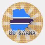 Botswana Flag Map 2.0 Round Sticker