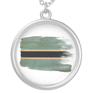 Botswana Flag Round Pendant Necklace