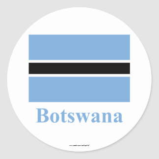 Botswana Flag with Name Classic Round Sticker
