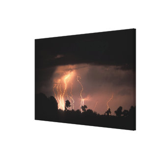 Botswana, Moremi Game Reserve, Lightning fills Canvas Print