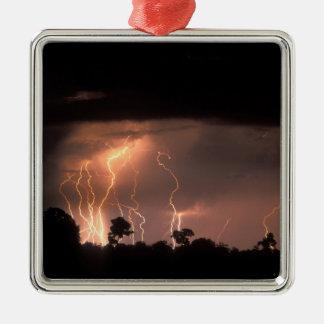 Botswana, Moremi Game Reserve, Lightning fills Metal Ornament