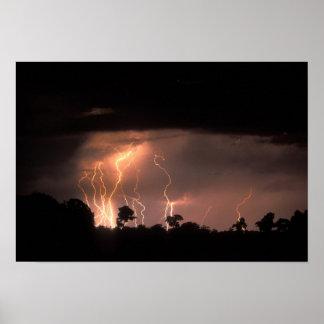 Botswana, Moremi Game Reserve, Lightning fills Poster