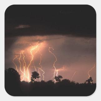 Botswana, Moremi Game Reserve, Lightning fills Square Sticker
