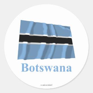 Botswana Waving Flag with Name Classic Round Sticker