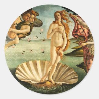 Botticelli Birth Of Venus Renaissance Art Painting Classic Round Sticker