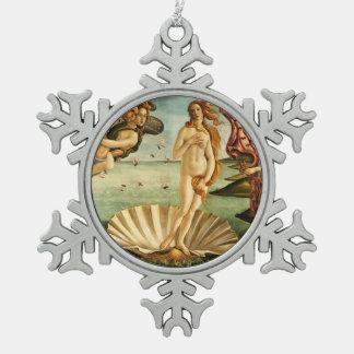 Botticelli Birth Of Venus Renaissance Art Painting Snowflake Pewter Christmas Ornament