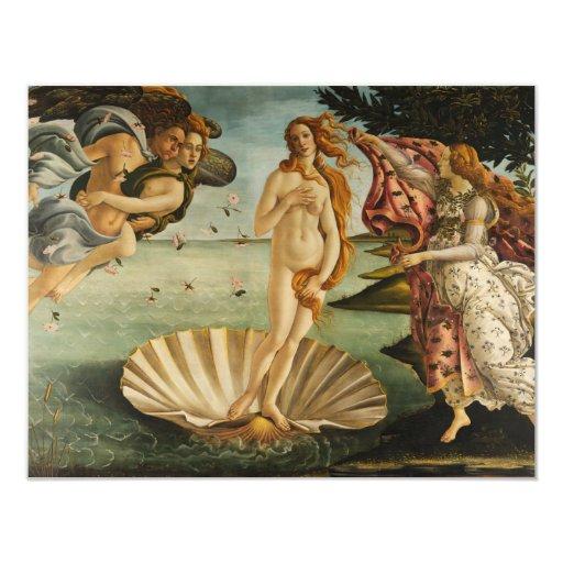 Botticelli el nacimiento de las invitaciones de invitación 10,8 x 13,9 cm