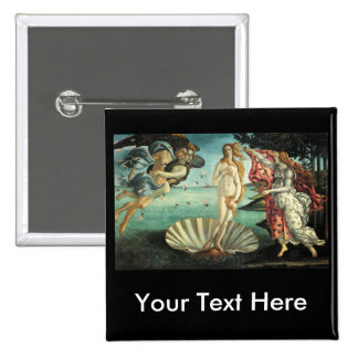 Botticelli - nacimiento de Venus Pin Cuadrada 5 Cm