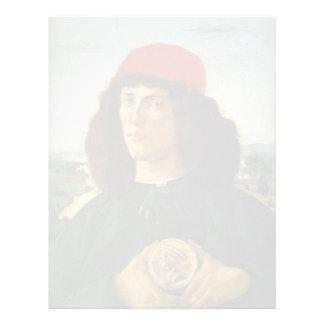 Botticelli-Retrato de Sandro del hombre con la med Plantilla De Membrete