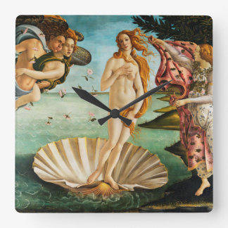 BOTTICELLI - The birth of Venus 1483 Square Wall Clock