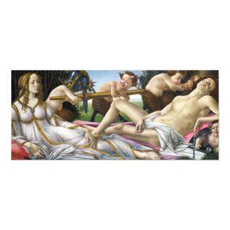Botticelli Venus e invitaciones de Marte Invitación 10,1 X 23,5 Cm
