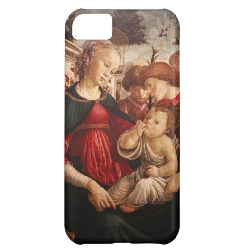 Botticelli-Virgen y niño de Sandro con dos ángeles Funda Para iPhone 5C