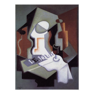 Bottle and Fruit Dish, by Juan Gris Poster