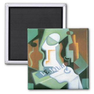 Bottle and Fruit Dish by Juan Gris, Vintage Cubism 2 Inch Square Magnet