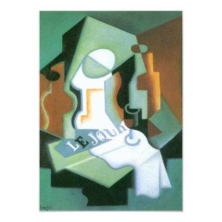 Bottle and Fruit Dish by Juan Gris, Vintage Cubism 5x7 Paper Invitation Card