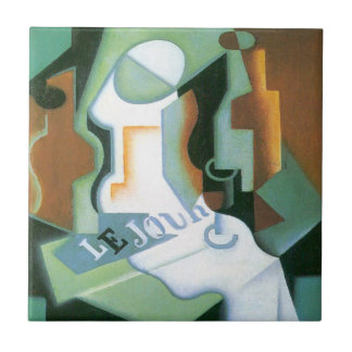 Bottle and Fruit Dish by Juan Gris, Vintage Cubism Ceramic Tile