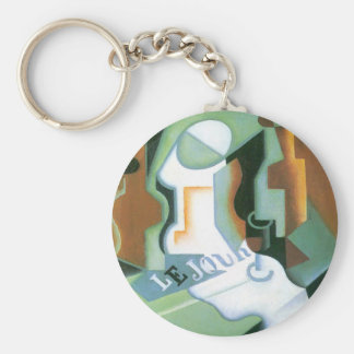 Bottle and Fruit Dish by Juan Gris, Vintage Cubism Keychain