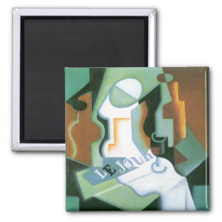 Bottle and Fruit Dish by Juan Gris, Vintage Cubism Magnet