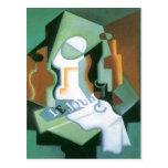 Bottle and Fruit Dish by Juan Gris, Vintage Cubism Postcard