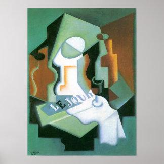 Bottle and Fruit Dish by Juan Gris, Vintage Cubism Poster