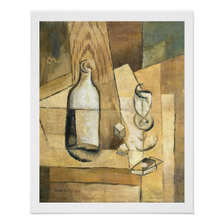 Bottle and Glass by Louis Marcoussis Posters
