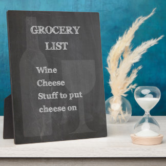 Bottle and Glass: Wine Lovers Grocery List Photo Plaques